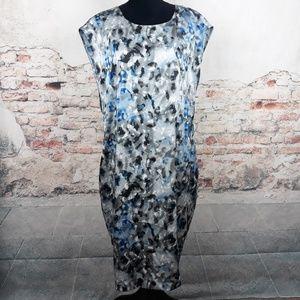 Anne Klein 14 Gray Blue Watercolor Dress Lined
